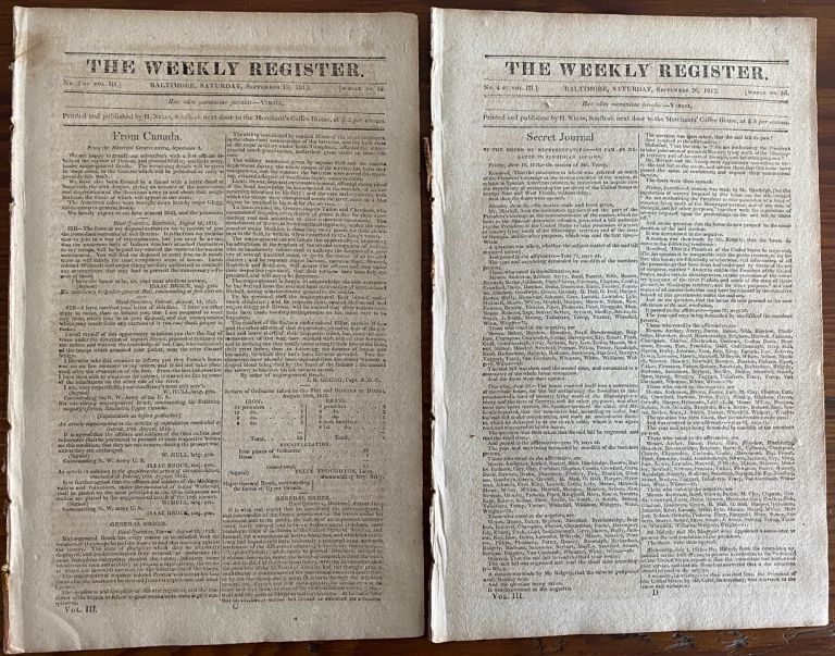 General Brock & William Hull content - Two (2) issues of The Weekly Register newspaper, Sept. 19 & 26, 1812 on War of 1812. The Weekly Register newspaper.
