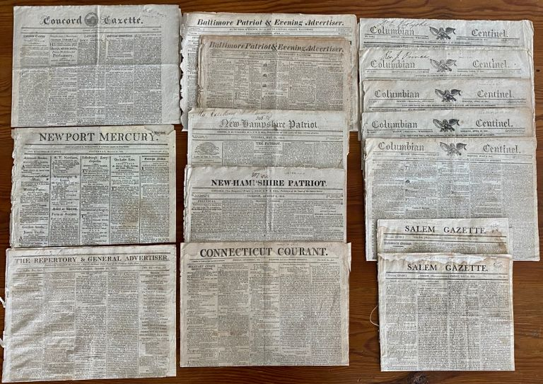War of 1812 - 15 USA newspaper issues dating from 1812 to 1815. newspapers.