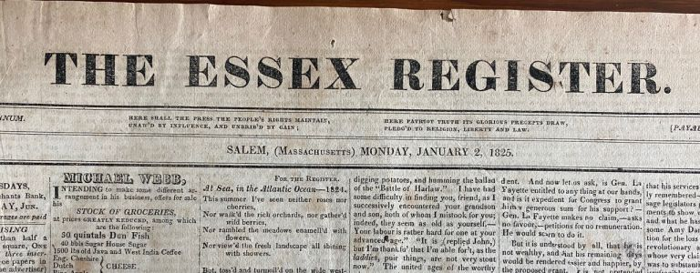 The Essex Register Newspaper Nov. 10, 1824 article on arctic ship Griper regarding the Northwest Expedition journey back to port. The Essex Register Newspaper.