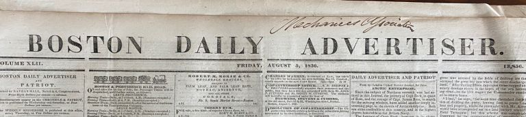 Long front-page article on the 1833 expedition of Captain George Back's in search of the lost expedition of Captain James Ross. Boston Daily Advertiser newspaper.