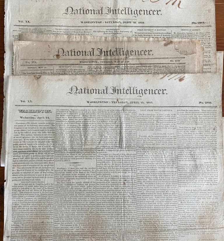Three National Intelligencer Robert Gourlay newspaper articles. Robert Fleming GOURLAY, National Intelligencer magaizine, subject.