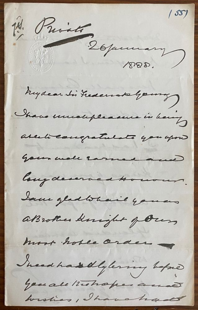 Philip Cunliffe-Owen holograph letter to Frederick Young. Sir Francis Philip CUNFFE-OWEN, Sir Frederick YOUNG, provenance.