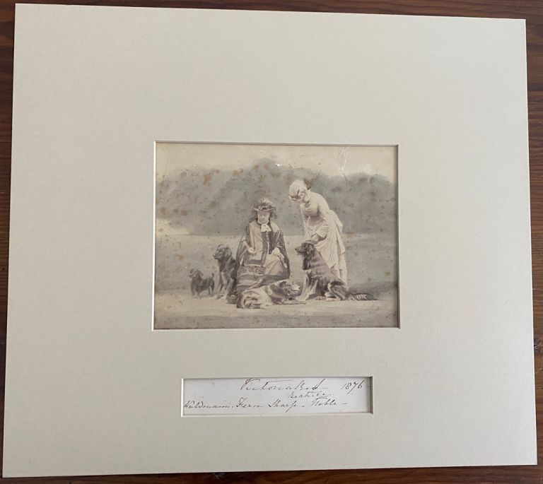 Albumen photo circa 1880's of Queen Victoria with Princess Beatrice and a Group of 4 Dogs plus a copy of a note originally written by Queen Victoria 1876. Queen Victoria, later Princess Henry of Battenberg Princess Beatrice.