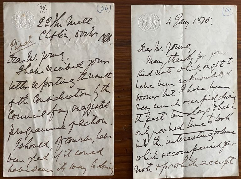 Two 3pp. holograph letters from John Forbes Watson to Frederick Young. John Forbes WATSON, Sir Frederick YOUNG, provenance.