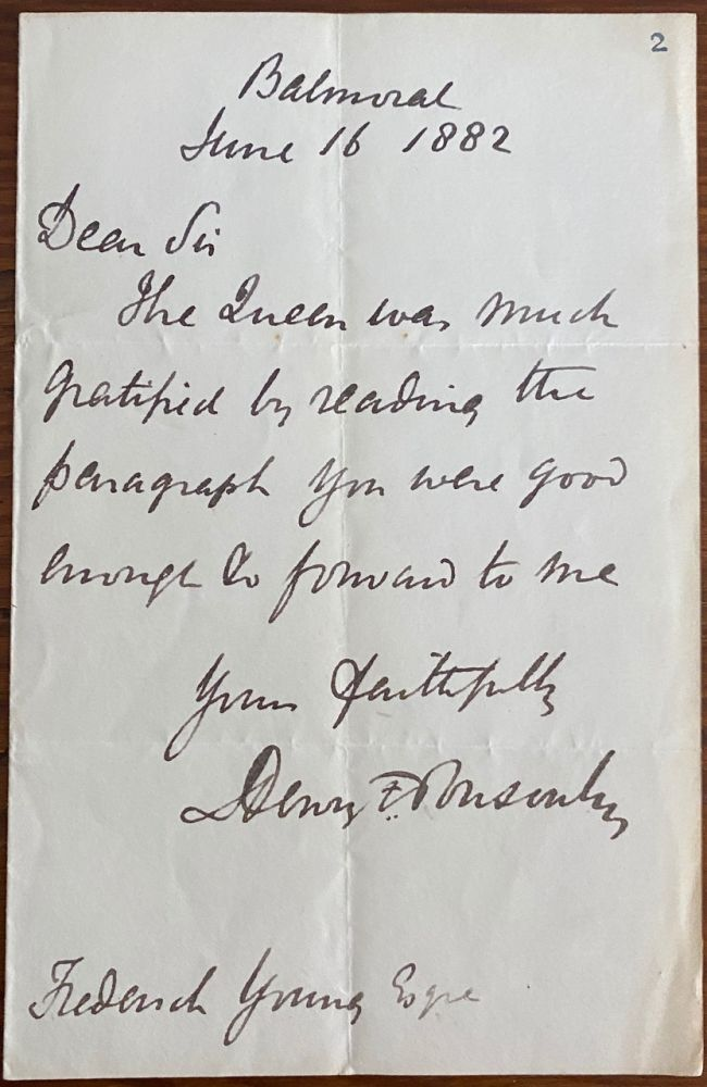 Holograph Letter of Frederick Edward Grey Ponsonby to Sir Frederick Young. Major-General Sir Henry Frederick PONSONBY, Sir Frederick YOUNG, provenance.