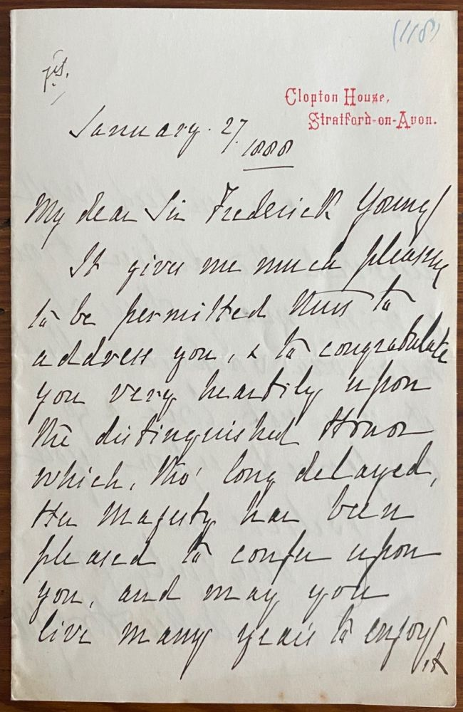 Holograph letter from Arthur Hodgson to Sir Frederick Young. Sir Arthur HODGSON, Sir Frederick YOUNG, provenance.