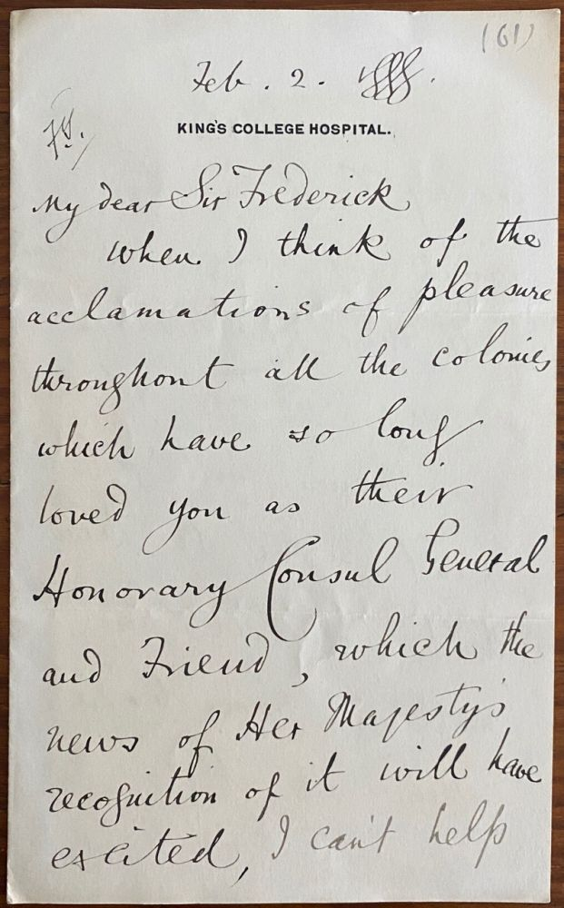Holograph letter from Mosse MacDonald to Sir Frederick Young. Thomas Mosse  MACDONALD, Sir Frederick YOUNG, 1856-c1920, provenance.