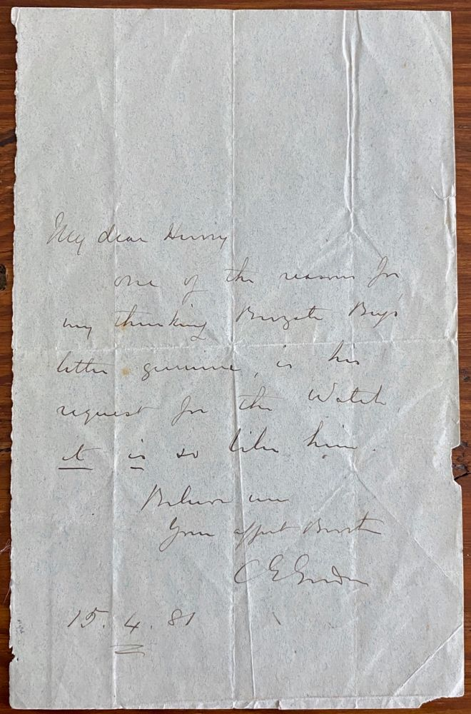 Holograph letter from Major General Charles George Gordon. Major General Charles George GORDON.