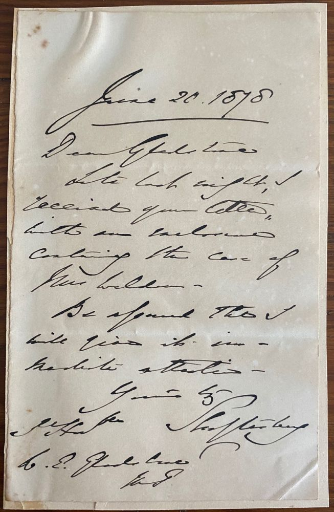 Holograph letter from Anthony Ashley Cooper, 7th Earl of Shaftesbury. Anthony Ashley COOPER, 7th Earl of Shaftesbury, William Ewart GLADSTONE, provenance.