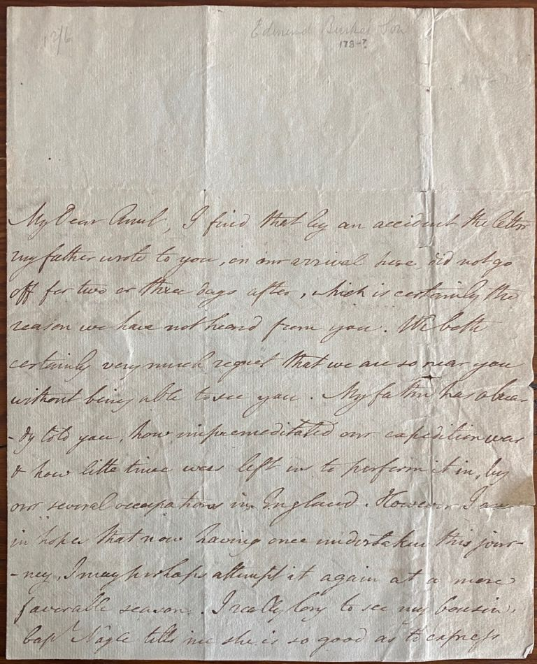 2 page holograph letter from Richard Burke to his aunt. Richard BURKE, Juliana FRENCH, née BURKE, provenance.
