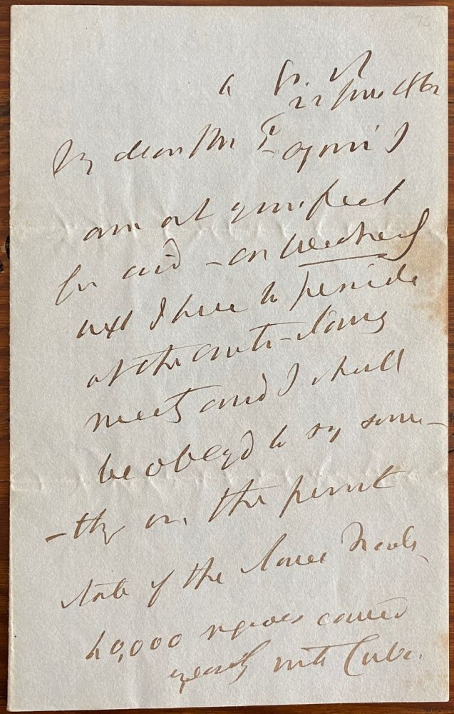 Holograph 4pp. letter dated 22 June 1846 to an unnamed recipient, Mr.P. Henry Peter BROUGHAM, 1st Baron Brougham and Vaux.