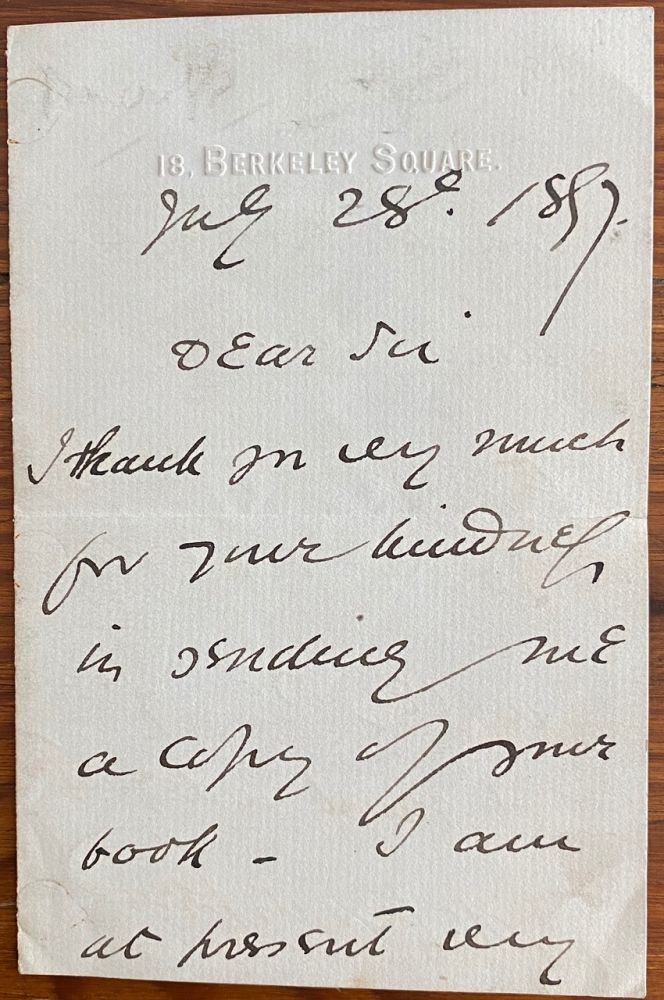 Holograph 3pp. letter dated July 28 1897 to an unnamed recipient. Sir Squire BANCROFT, Squire White Butterfield.