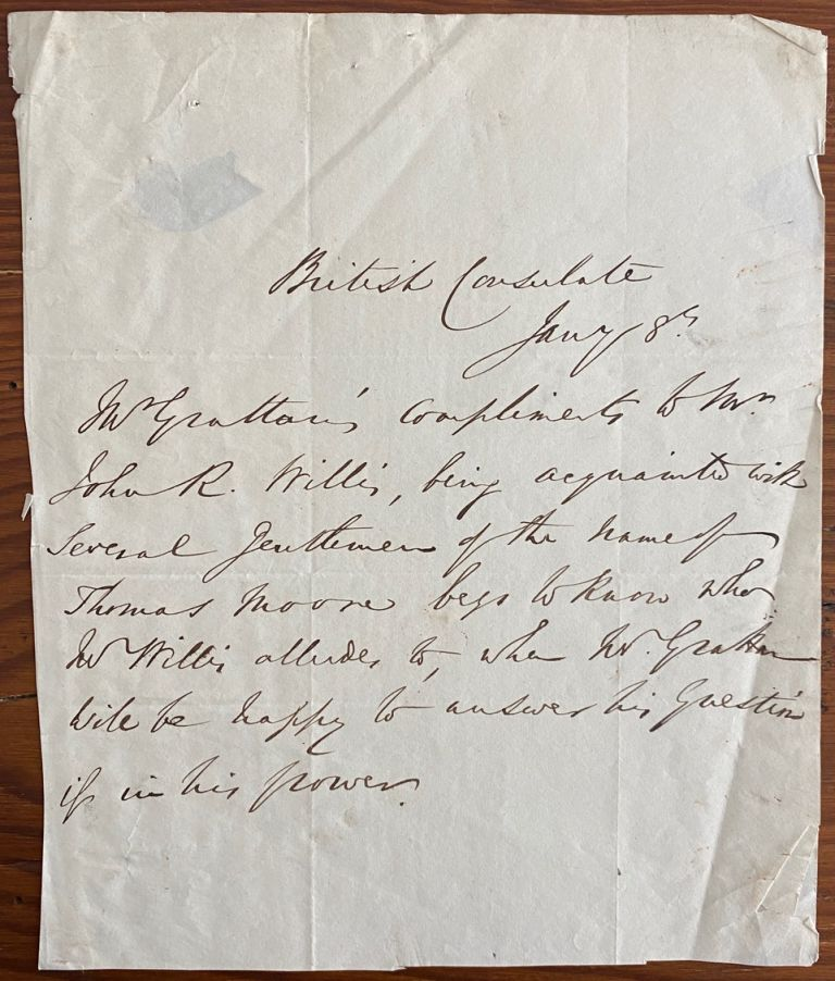 Autograph letter signed from Thomas Colley Grattan to John R. Mills Esq. Boston. Thomas Colley GRATTAN.