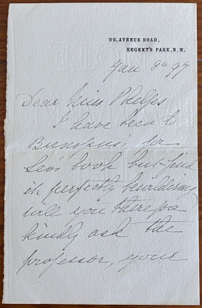 Holograph 2pp. letter from Lucy Geneviève Teresa Ward, Countess de Guerbel to Miss Phelps. Lucy Genevieve Teresa WARD, Countess de Guerbel.