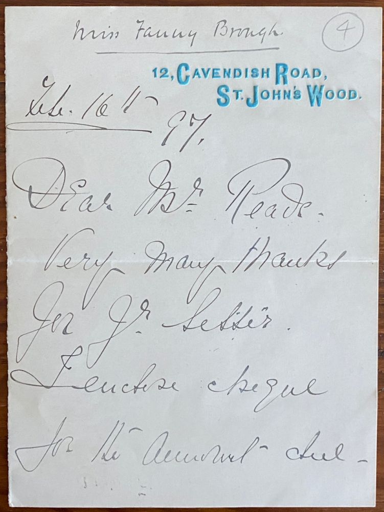 """Holograph 2pp. letter from Frances """"Fanny"""" Whiteside Brough. Frances """"Fanny"""" Whiteside BROUGH."""