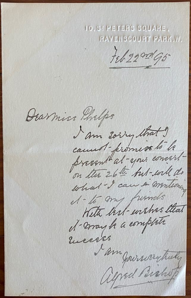 Holograph letter from Alfred Bishop to Miss Phelps. Alfred BISHOP.