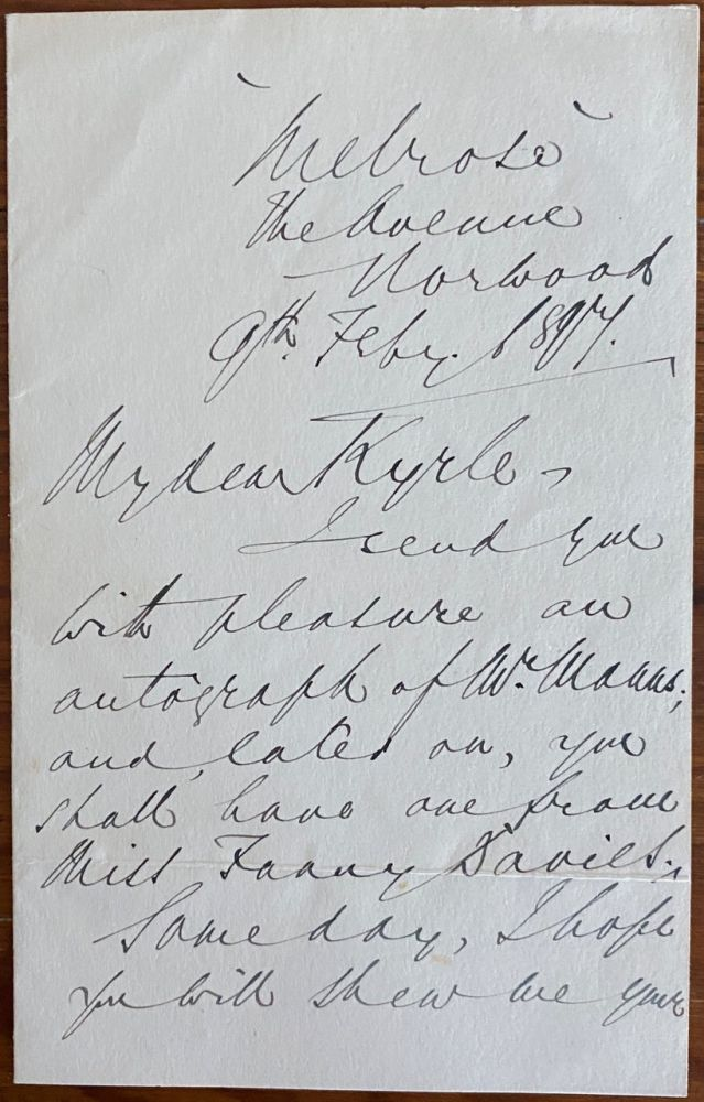 Holograph letter from Alfred James Eyre. Alfred James EYRE.