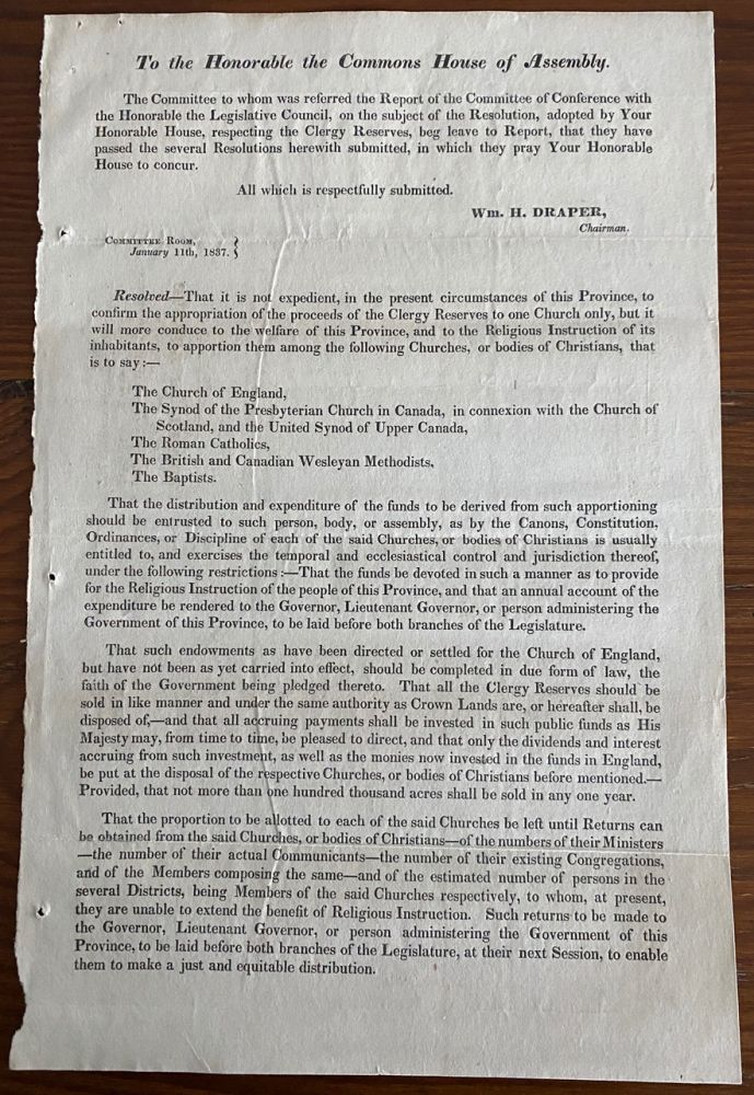 Report of Select Committee on the Report of Committee of Conference on the subject of the appropriation of the Clergy Reserves. Commons House of Assembly.
