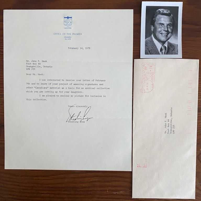 Premier Sterling Rufus Lyon Typed letter signed and small B&W photo. Sterling Rufus LYON.