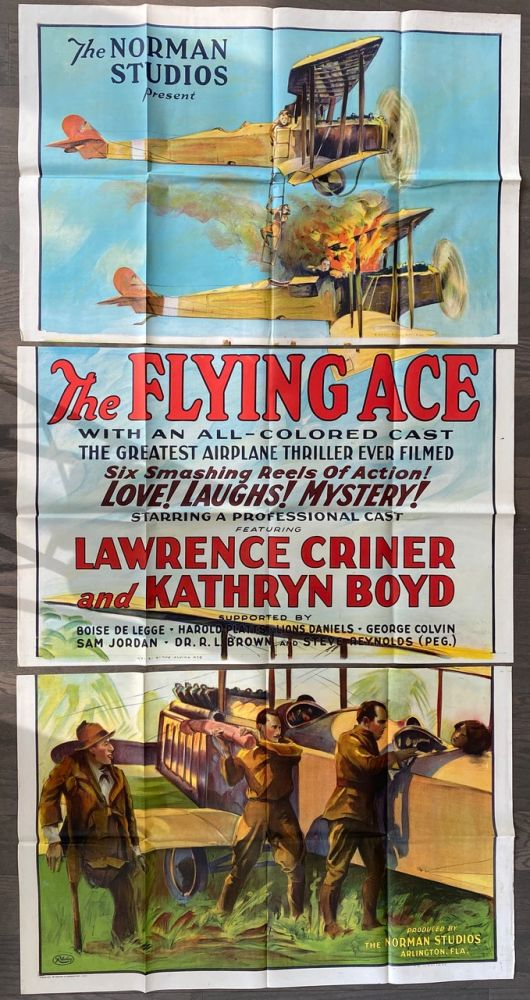 The Flying Ace Three Sheet Large Poster (3 original folded sections). Richard Edward NORMAN, Kathryn BOYD, Laurence CRINER.