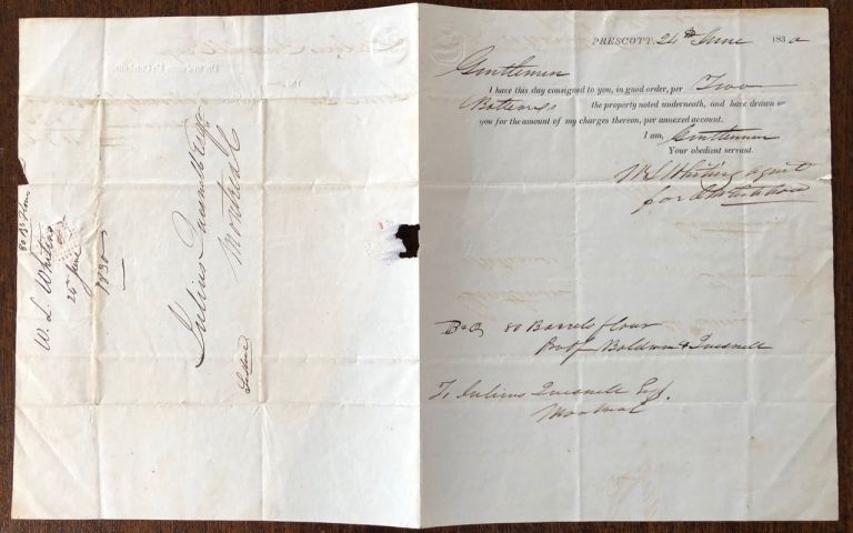 Voyageur's Cargo Contract to Montreal. W L. Whiting, Jules Maurice QUESNEL, William Lapin, Julien.