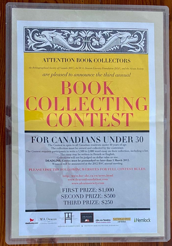 BSC - Canada's Third National Book Collecting Contest Poster. Bibliographical Society of Canada, Robert  REID, designer.