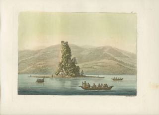 """Le roc de New-Eddystone"" Natives in boats off shore with island and in background hand colored..."