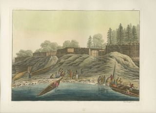 """Esterno delle abitazioni di Nutka"" Natives in boats landing on shore with buildings in background hand colored aquatint print. Giulio FERRARIO, fl, engraver, Paolo FUMAGGATI."