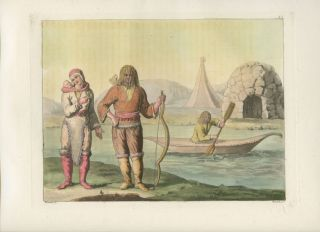 """Eschimo del Nord-ovest della Baja d'Hudson"" (Hudson Bay - Canada) Aboriginals standing onshore with houses in background hand colored aquatint print. Giulio FERRARIO, Angelo T. BIASIOLI, engraver."