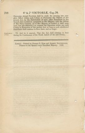 An act for giving effect to a treaty between her majesty and the United States of America for the apprehension of certain Offenders. Victoriae Reginae 1843