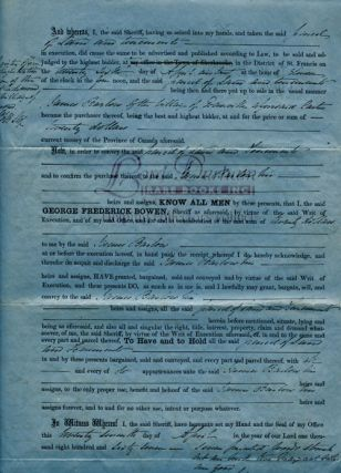 George Fredrick Bowen (Sheriff) Document Signed. An 1867 Deed of Sale