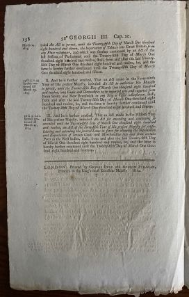 An act to continue several Laws relating to permitting the Importation of Tobacco into Great Britain from any Place whatever, and to permitting Goods and Commodities to be imported into and exported from Novia Scotia and New Brunswick, in any Ship Georgii IV. Regis. 1812