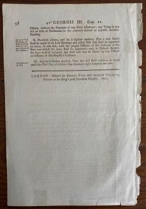 An act to permit.... the Importation of Herrings and other Fish, the Produce of the Fishery carried on in Nova Scotia, New Brunswick, New Foundland, and on the Coast of Labrador, into this Kingdom, without Payment of Duty. Georgii IV. Regis. 1800