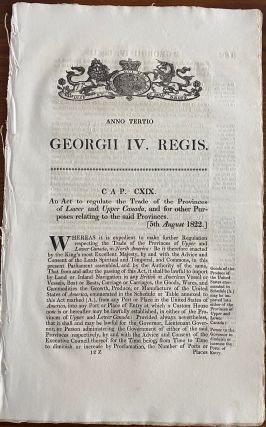 An act to regulate the Trade of the Provinces of Lower and Upper Canada, and for other Purposes...