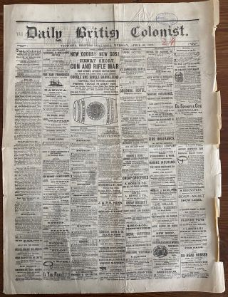 Two Daily British Colonist newspapers, April 30, 1879 and July 9, 1879, Victoria, British Columbia, Canada