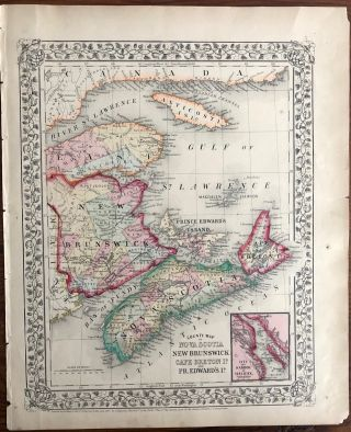 Map of Nova Scotia, New Brunswick Cape Breton Island and Prince Edward Island in Counties....