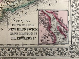 Map of Nova Scotia, New Brunswick Cape Breton Island and Prince Edward Island in Counties