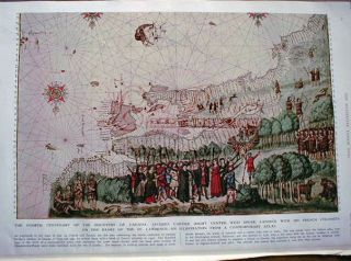 Engraving of a 1546 map / view of the founding of Canada by Jacques Cartier. Jacques Cartier