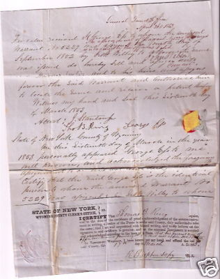 USA Dept. of Interior War of 1812 Vermont Rare USA Seth WILLEY Land Script document