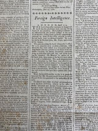 Philadelphia Society of the Cincinnati, July 6, 1786 meeting as reproted in the Pennsylvania Packet, and Daily Advertiser newspaper