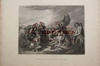 Death of General Wolfe (Quebec) 1831 B&W print. General James WOLFE