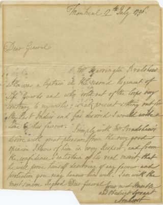 "Jeffery AMHERST ASL ""letter of recommendation"" for Barrington Bradshaw (to unkonwn) UK Manusricpt 1796. Jeffrey AMHERST, 1st Baron Amherst, 1717 - 1797."