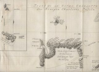 Isles de la Reine Charlotte - map of Queen Charlotte Island on James Cook journey. Jacques...