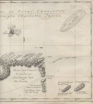 Isles de la Reine Charlotte - map of Queen Charlotte Island on James Cook journey