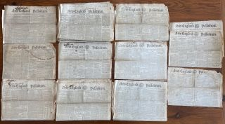 War of 1812 - 24 issues from 1813 of New England Palladium, Boston newspapers. New England...