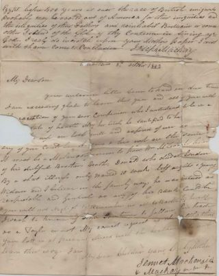 Stampless Letter from England to Prince Edward Island 1842