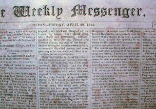 War of 1812 Battle Lacolle Mills, April 29, 1814 [Boston] Weekly Messenger newspaper. newspaper.