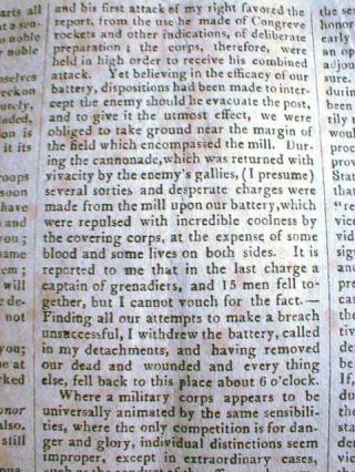 War of 1812 Battle Lacolle Mills, Quebec, April 29, 1814 [Boston] Weekly Messenger newspaper