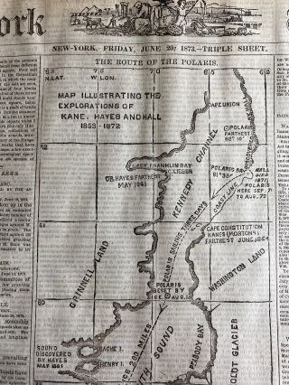 Polaris Mystery Indepth Report with Map of Route in the New-York Tribune June 1873