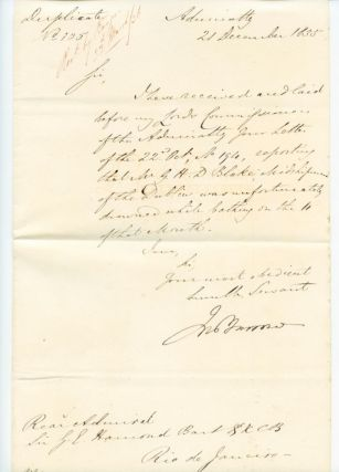 Letter (duplicate) signed by Sir John Barrow, Arctic explorer. Sir John BARROW.